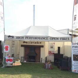 Camelot high perofmranc oepn fires stand at Malvern Autumn show