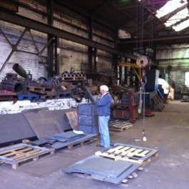 Dad waiting at the foundry to inspect cast iron pieces for large bespoke fireplace we created for luxury appartmend near Buckingham Palace.