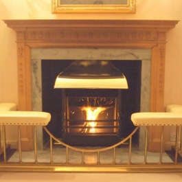 Georgian style high performance wood burning open fire with convecting system and brass canopy