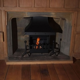 Wooden Clad Open Fireplace with Handmade Traditional Fire