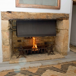Stone Fireplace Open Fire