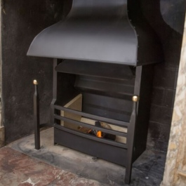 Regency steel canopy convecting open fire high performance with slender bras ball top dog irons