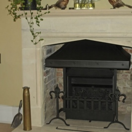 Steel canopied high performance wood burning open fire with convection system