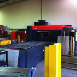 The £1 million flat bed lazer cutter used to cut blanks for the Thermovent body - with CNC folder in the rear.