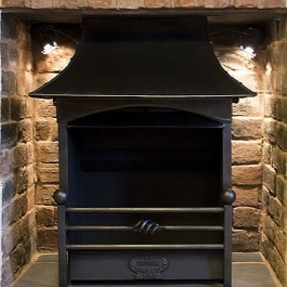 Thermovent wood burning open fire with handmade steel canopy