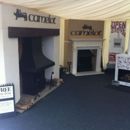 Close up of our wood burning open fires stand at a country fair.