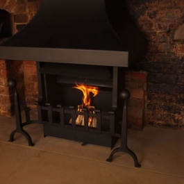 Traditional Open Fireplace with hand Forged Fire and Dog Irons 2