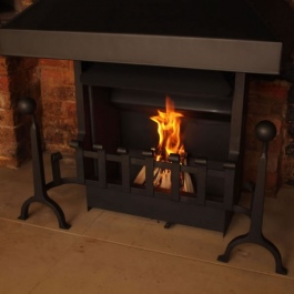 Traditional Open Fireplace with hand Forged Fire and Dog Irons 4